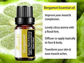 Miyuki Bergamot Essential Oil Organic Plant   Natural 100  Pure Therapeutic Grade Aromatherapy Bergamot Oil for Diffuser Humidifier Massage Sleep Perfume Bath SPA Skin   Hair Care 10ml