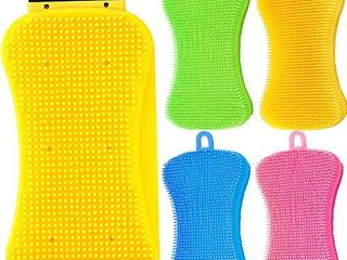 5 Pieces Silicone Sponge Set Includes 3 in 1 Kitchen Silicone Sponge Silicone Scrubber Scraper and 4 Pieces Silicone Sponge Dish Washing Sponge Multi Functional Cleaning Brush for Kitchen Bathroom