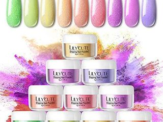 lIlYCUTE Dipping Nail Powder System Starter Kit White Black Blue Purple Red Acrylic Dipping System for French Nail Glitter Colorful Manicure Nail Art Set 9 Colors for Winter Autumn Halloween