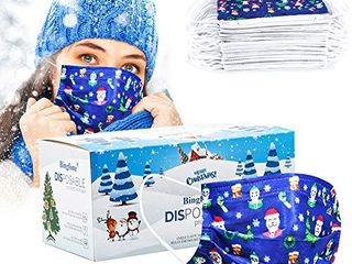 Christmas Disposable Mask Blue for women adult man 50 pcs Christmas Mask Disposable 3 layer adjustable masks with Nose Clip and Ear loops Christmas theme Adult blue NOT INSPECTED