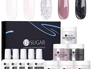 UR SUGAR Fluorescent Dipping Powder Kit 5ml Valentines Neon Bright Candy Sweet Color Dip Nail Powder for New Year Party Holiday Decoration Design Acrylic French Manicure Nail Kit 10 Colors Set