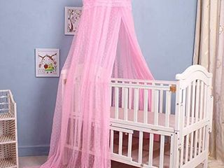 Cdycam Baby Infant Toddler Bed Dome Cots Mosquito Netting Hanging Bed Net  Mosquito Net Without Stand  Pink