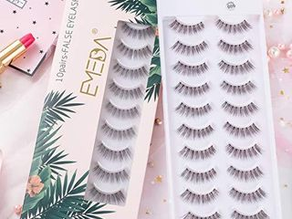 False Eyelashes Natural look 10 Pairs 3D Fake lashes Small Face Eyelashes 100  Handmade lashes Wispies Short Soft Reusable Eye lash