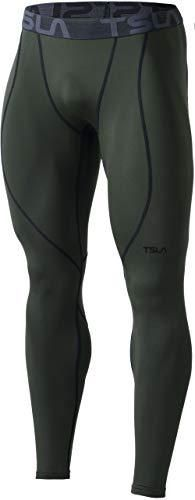 TSlA Men s Thermal Compression Pants  Athletic Sports leggings   Running Tights  Wintergear Base layer Bottoms  Heatlock Athletic yup53    Olive  XX large