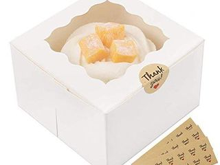 Moretoes 30 Packs 4x4x2 5 Inches White Bakery Boxes with Window Paper Gift Boxes for Pastries  Cupcakes  Small Cakes and Cookies