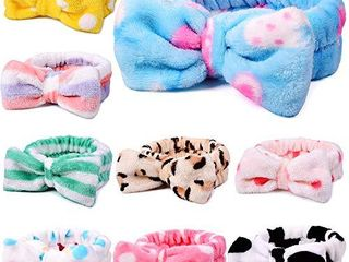 UMIKU 9 Pack Spa Headband for Women  Facial Makeup Headband Soft Coral Fleece Cosmetic Headband for Women Girls Bow Hair Band Head Wraps for Washing Face Mask Spa Shower Gifts