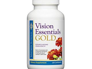 Dr  Whitaker s Vision Essentials Gold   Eye Health Supplement with 40 mg of lutein Plus Vitamin A   Zeaxanthin   Supports Macular Health and Shields Eyes Against Blue light Exposure  120 Capsules