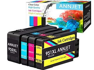 ANNJET Compatible Ink Cartridge Replacement for HP 950Xl 951Xl 950 951 Ink Cartridge Works with HP OfficeJet Pro 8600 8610 8620 8100 8630 8660 8640 8615 8625 276DW 251DW 271DWi1 44 Packi1 4
