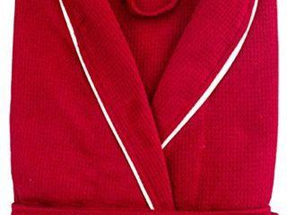 Cozy Bath Waffle Weave Cotton Bathrobe  Red Medium