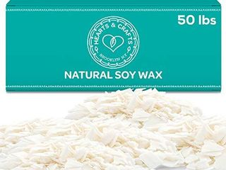 Hearts and Crafts Soy Wax and DIY Candle Making Supplies   10lb Bag with 100 6 Inch Pre Waxed Wicks NOT FUllY INSPECTED