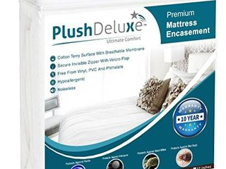 PlushDeluxe Premium Zippered Mattress Encasement  Waterproof  Bed Bug   Dust Mite Proof 6 Sided Protector Cover  Hypoallergenic Cotton Terry Surface  Fits 9  12 Inches H  Queen Size