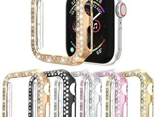 Protector Case Compatible with Apple Watch Series 3 Series 2 Series 1 38mm Cover  Double Row Bling Crystal Diamonds Protective Cover PC Plated Bumper Frame Accessories