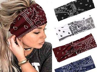 Gortin Boho Headbands Yoga Turban Headband Stretch Flower Print Cross Knoted Sweatbands Wide for Women 2 Pcs