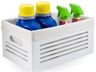 Wooden Storage Bin Container Crate   White  Medium 9 8 x13 7 x6 5