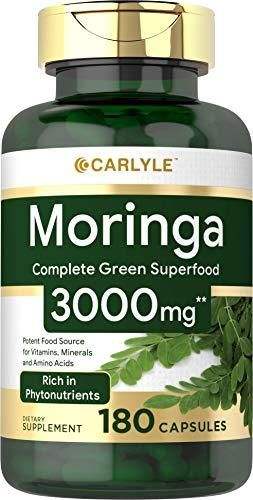 Moringa Oleifera 3000 mg 180 Capsules a Complete Green Superfood   Non GMO Gluten Free   from Moringa leaf Powder   by Carlyle