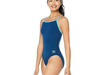 Speedo Women s Swimsuit One Piece Endurance  Flyback Solid Adult Team Colors  Navy Blue 8  34