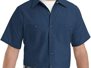 Red Kap Men s Standard Industrial Work Shirt  Regular Fit  Short Sleeve  Navy  X large
