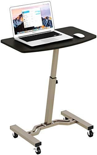 SHW Height Adjustable Mobile laptop Stand Desk Rolling Cart  Height Adjustable from 28  to 33