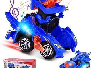 Villana Transforming Dinosaur Toys  Transforming Dinosaur Car with lED light and Music Automatic Transform Dino Car for 2  Year Old Kids Christmas Birthday Gifts  Blue