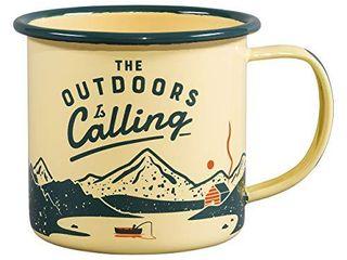 Gentlemen s Hardware Sportsman s Outdoor Camping Enamel Mug  Mustard DAMAGED  SOME ENAMEl IS CHIPPED