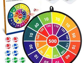 Baodlon Kids Dart Board Game Set   14 Inches Dart Board for Kids with 12 Sticky Balls   Darts Board Set with Colorful Box   Safe Darts Board Game Gift Toy for 3 4 5 6 7  8 12 Years Old Kids Boys Girls