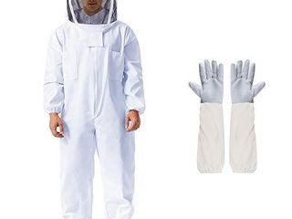 Beekeeping Suit Apiarist Beekeeping Jacket with Sheepskin Gloves   Ventilated Fencing Veil Hood Professional Beekeeper Suit Outfit Total Protection for Backyard Professional and Beginner Beekeepers l