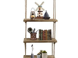Oyydecor Wall Hanging Shelf  3 Tier Distressed Wood Swing Storage Shelves Jute Rope Organizer Rack  Rustic Home Wall Decor  Natural