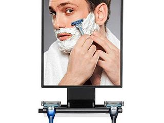ToiletTree Products Deluxe larger Fogless Shower Shaving Mirror with Squeegee  large  Black