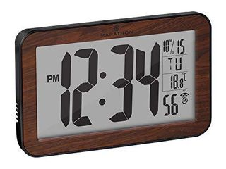 Marathon Commercial Grade Panoramic Autoset Atomic Digital Wall Clock with Table or Desk Stand  Date  and Temperature  8 Time Zone  Auto DST  Self Setting  Self Adjusting  Batteries Included  Wood