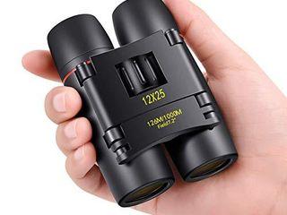 POlDR 12X25 Small Pocket Binoculars Compact Adults Mini Kids Binoculars Boys for Bird Watching Concert Theater Opera