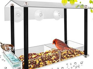 HHXRISE Acrylic Window Bird Feeder  large Size with Suction Cups   Seed Tray  Creative Water Sink   Bird Home Design  Weatherproof with Shield Roof   Drain Hole  Outdoor Acrylic Bird House  12 inch  a