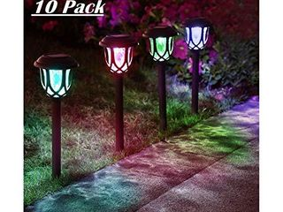 ExcMark 10 Pack Color Changing Solar lights Outdoor Decorative  Solar Pathway lights  Solar Powered Garden Yard lights for Christmas Walkway Sidewalk Driveway