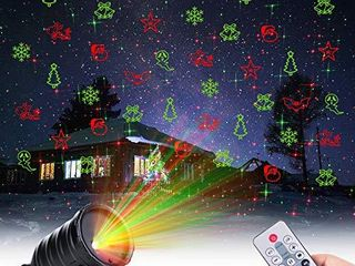 Christmas Projector lights Outdoor 10 Patterns lED landscape Projection Waterproof Spotlights with Timer Flash Mode Setting for Xmas House Holiday Indoor Party New Year Decoration  Red Green