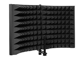 Microphone Isolation Shield  MAONO AU S02 High Density Absorbing Foam Front and Metal Back for Studio Sound Recording  Podcasting  Vocalizing  Singing  Broadcasting