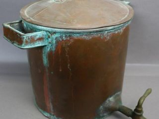 COPPER POT WITH lID AND SPOUT 15 X12 X16  MARKED