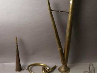 TWO BRASS HORNS AND TWO AIR PUMPS