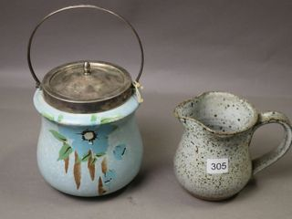 PAINTED BISCUT JAR AND CREAMER