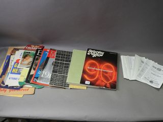lOT OF PAPER ITEMS  ADERTISING EASEl  PHOTOS  ETC