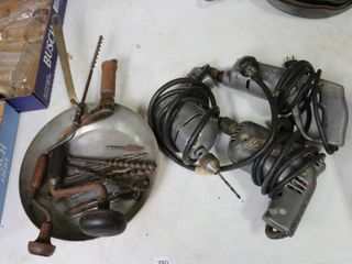 lOT OF POWER DRIllS AND BITS  WITH FRY PAN