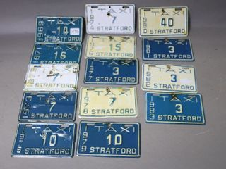 lOT OF 14 TAXI lICENCE PlATES STRATFORD 1969 83