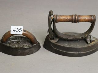 TWO SMAll SAD IRONS  THE PEAl AND TOIlET NO  4