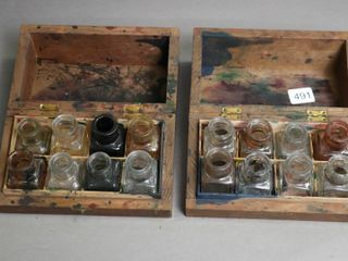 TWO WOODEN INK WEll HOlDERS WITH GlASS INK WEllS