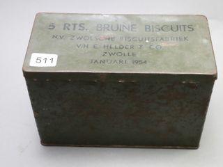 1954 TIN BRUINE BISCUIT TIN 7X4X5