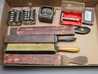 lOTS OF BARBER ITEMS AND PENCIl SHARPENERS