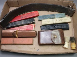 lOT OF 8 STRAIGHT RAZORS  TWO BRUSES AND STROP