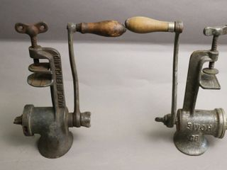 TWO TABlE MOUNT MEAT GRINDERS 10  lONG