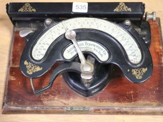 AMERICAN TYPEWRITER CO ON WOODEN BASE