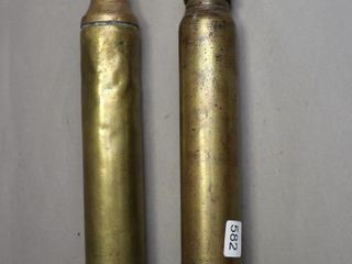 TWO BRASS HAND TORCHES 14  lONG