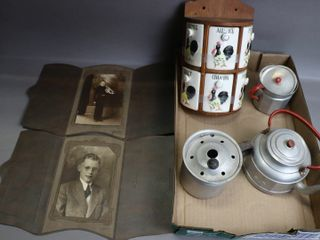 lOT OF CHIlDS TEA ITEMS  SPICE RACK AND PHOTOS