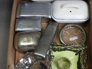lOT OF RAZOR BOXES  OIlER  CANDlESTICK HOlDER
